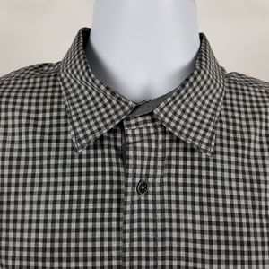 Bugatchi Uomo Shaped Fit Black Gray Gingham Check